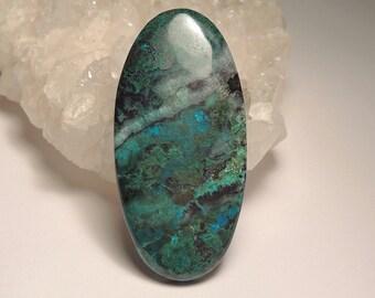 Huge Natural Chrysocolla, Malachite and Quartz Cabochon - Hand Cut, Elongated Oval, Blue Green White, 52mm x 26mm, 65.55 Carats