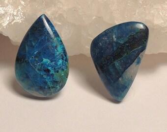 Small Ring Size Natural Shattuckite Cabochons - Hand Cut, Freeform Teardrop Pear, Triangle Shield, Aqua Blue Green Clear,  2 Pcs