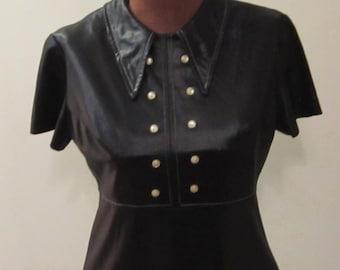 Vintage 60's 70's MOD Mini Dress Carnaby Street Vinyl Look  Babydoll Goth S M