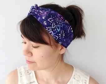 Batik Turban Headband, Blue Turband, Boho Headwrap, Twist Headband