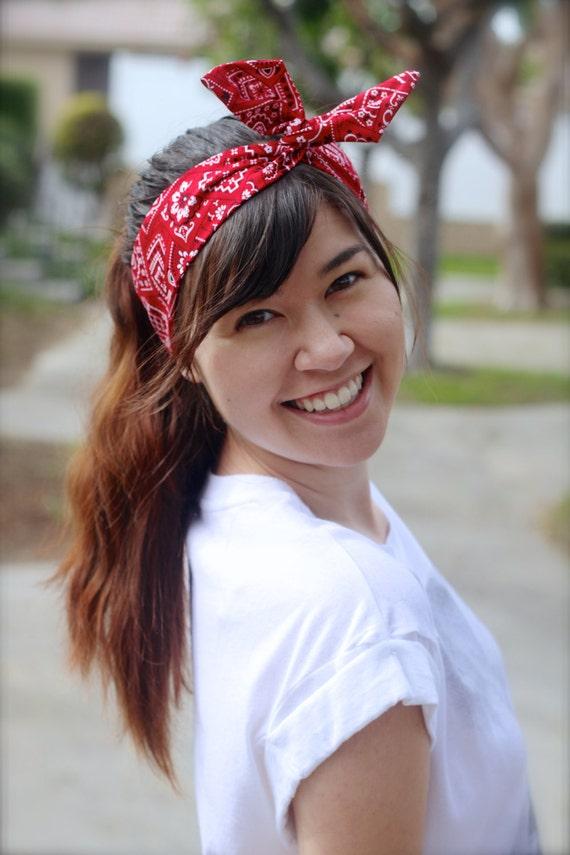 Red Bandana Dolly Bow Wire Headband Flexible Twist Headband  d2621b54047