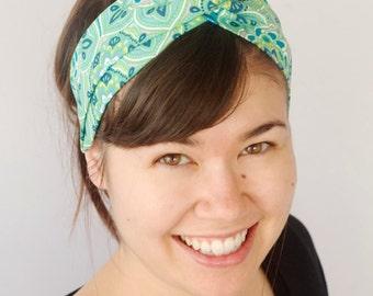 Green Turban Headband, Boho Headwrap, Turband