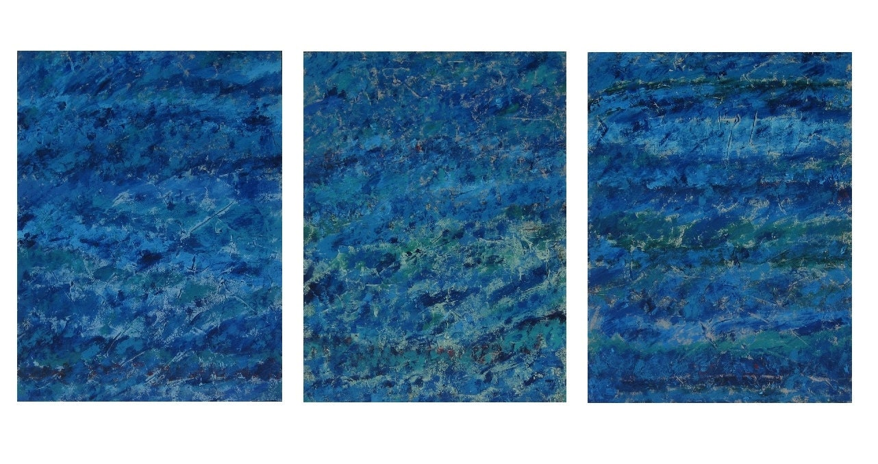 Large abstract paintings on wood blue abstract art blue wall decor blue abstract painting original blue seascape blue triptych painting