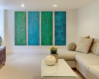 Wood Wall Sculpture - Large Wall Art - Green Abstract Art - Modern Art  -  Teal Original Paintings - Turquoise Painting - minimalistic art