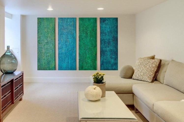 Wood Wall Sculpture Large Wall Art Green Abstract Art Modern