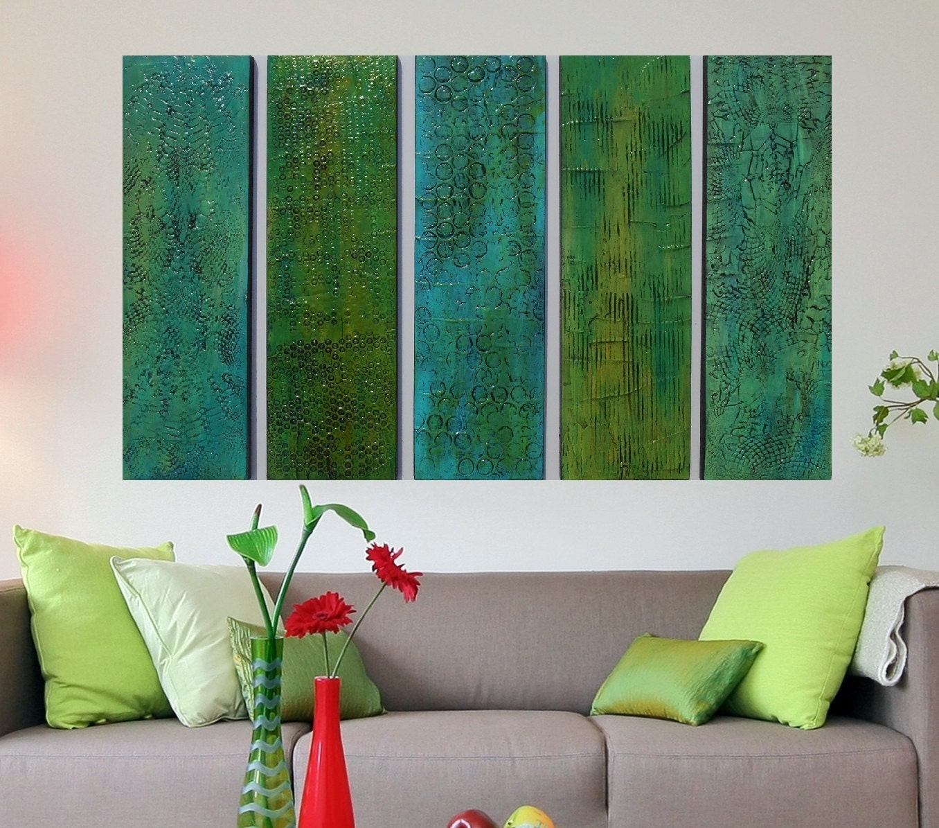 Wood Wall Sculpture Green Abstract Art Turquoise Modern Wall