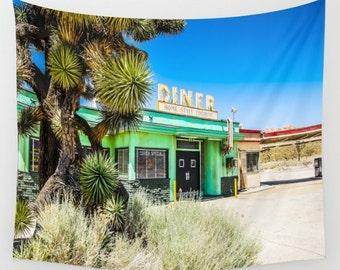 California Desert Diner Wall Tapestry, California Wall Art, Retro Photo Tapestry, Living Room Wall Art, Motel Sign, California, Dorm