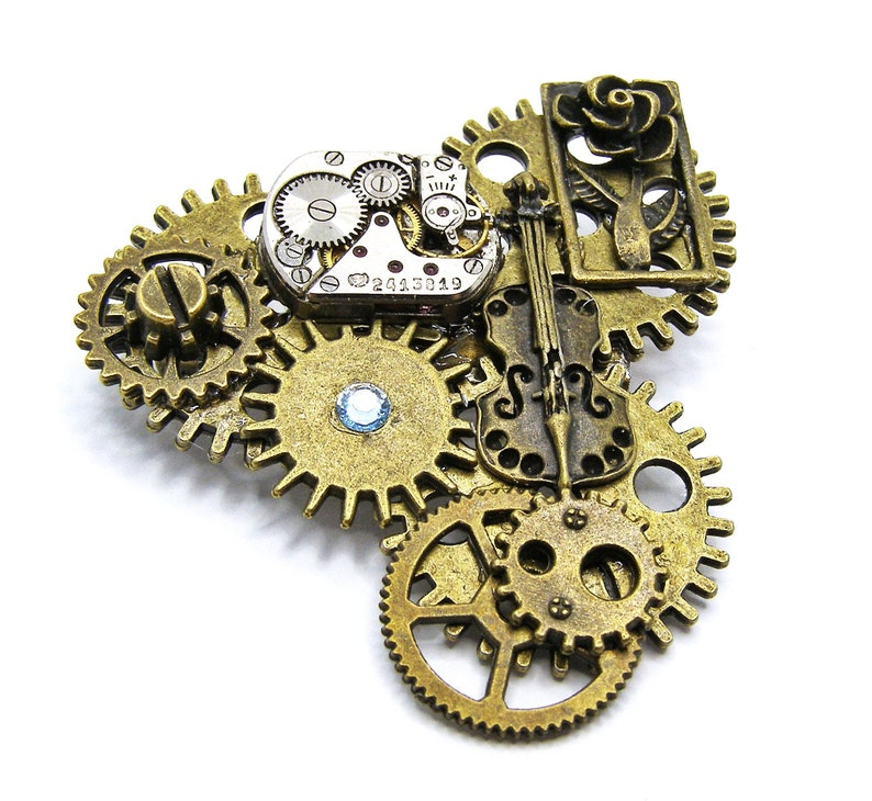 Music and Love Steampunk Brooch Badge Handmade in Cornwall UK Lapel Pin Bronze Colour Cogs and Gears With Violin and Art Nouveau Rose