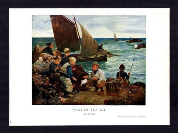 John R Reid Late 1800/'S Oil Painting Sons Of The Sea Vintage Art 1930 Bookprint