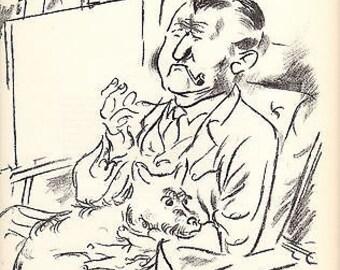 """George Grosz 1939 Wpa Book Print """"Self Portrait"""" Vintage Cartoon Art Sketch"""