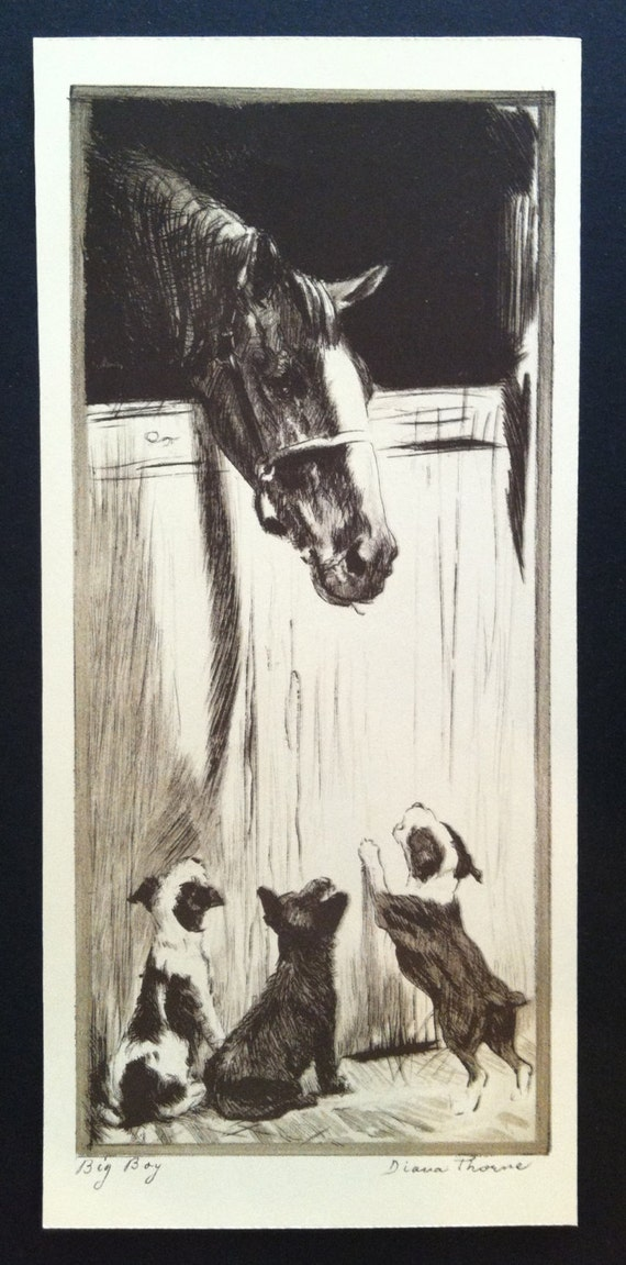 """DIANA THORNE/'S Terrier/'s /""""CAUGHT OR FOUND /"""" Vintage 1935 Dog Bookplate Art Print"""