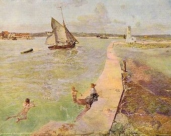 """Walter Bayes 1899 Oil Painting """"The Top Of The Tide"""" Vintage Art 1930 Book Print"""