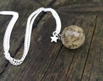 Dandelion resin sphere - resin - necklace