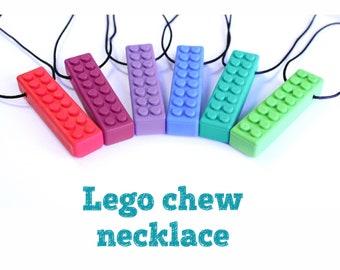 Sensory chew necklace lego brick