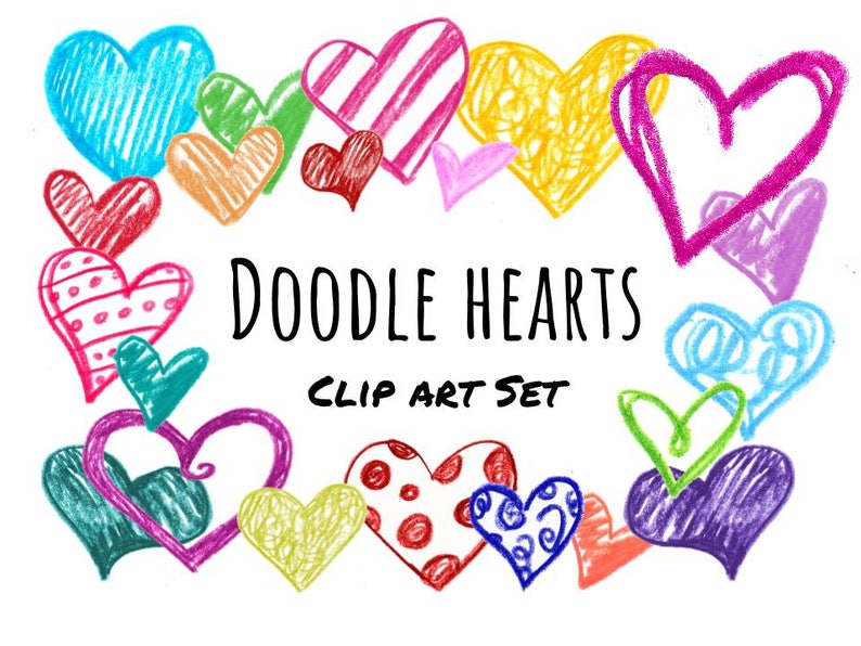 Colorful Doodle Hearts Clip Art Hand Drawn Heart Clipart Etsy