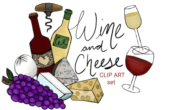 Wine and cheese clip art set hand drawn clip art cheese | Etsy Wine And Cheese Art