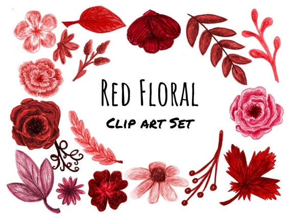 Hand Drawn Red Floral Clip Art Red Flowers And Branches Red Etsy