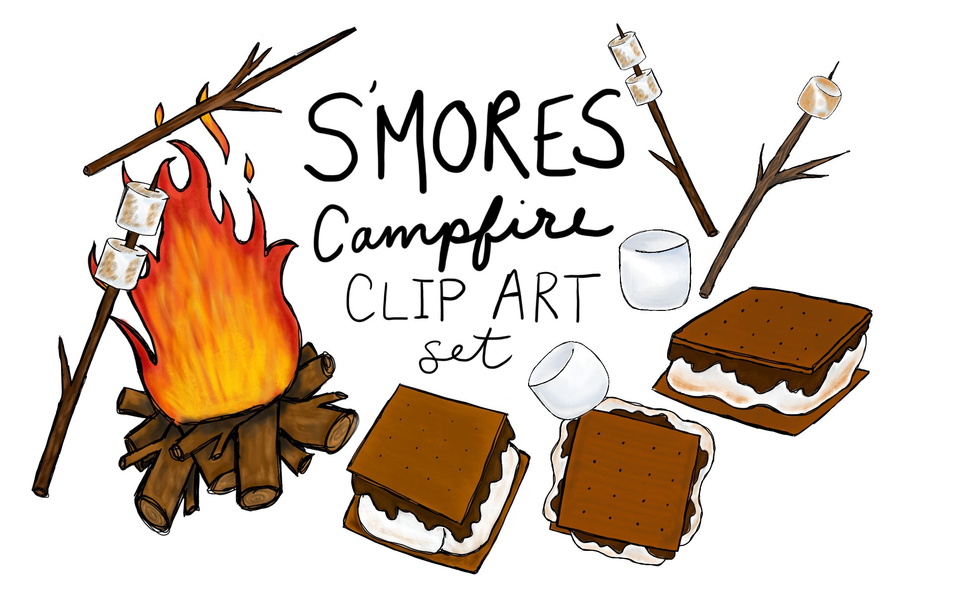 hand drawn s mores clip art set digitally drawn clip art etsy rh etsy com smores clipart free s'mores clip art black and white