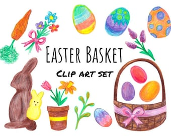 Easter Basket Hand Drawn Clipart, Easter bunny clipart, Easter candy clip art set, hand drawn bunny, basket, bouquet, Easter eggs, PNG files