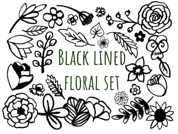 Black Lined Floral Clip Art Hand Drawn Clip Art Set Hand