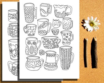 Instant Download, 4 Coloring pages, teapots, coffee cups coloring page, spoons coloring page, hand drawn, printable adult coloring pages