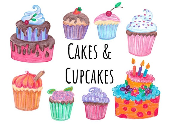 Commercial Use Cake And Cupcakes Clipart Doodle Clip