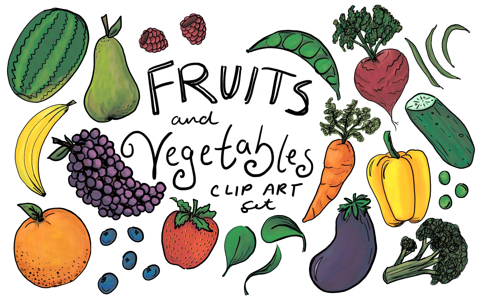 Fruits And Vegetables Clip Art Hand Drawn Clip Art Hand