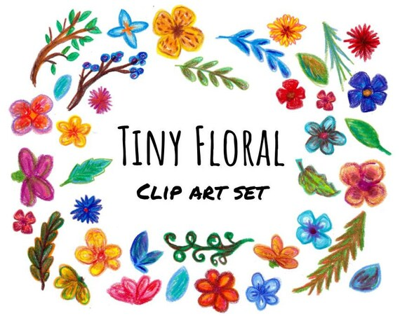 Hand Drawn Tiny Flowers Clipart Spring Flowers Clipart Etsy