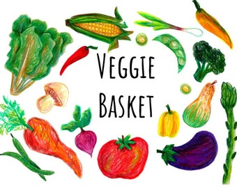 Hand Drawn Vegetable Clip art, hand drawn clipart with colorpencil digital clipart, PNG format veggie clip art, digital scrapbooking veggies
