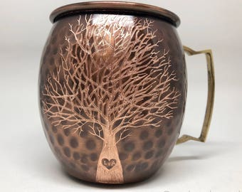 Moscow Mule Mug / Etched Tree Heart / Initials to Heart / Wedding Gift / Personalize It / 7 Year Anniversary Gift / Bride and Groom Gift