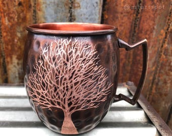 Moscow Mule Mug with Tree / Wedding Gift / Copper Gift / Anniversary Gift / 7 Year Anniversary / Graduation Gift  / Gifts for Her