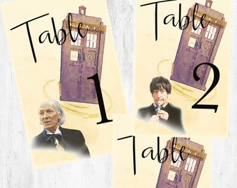 Doctor Who Wedding Table Numbers with Doctors and Companions  DWTNDC