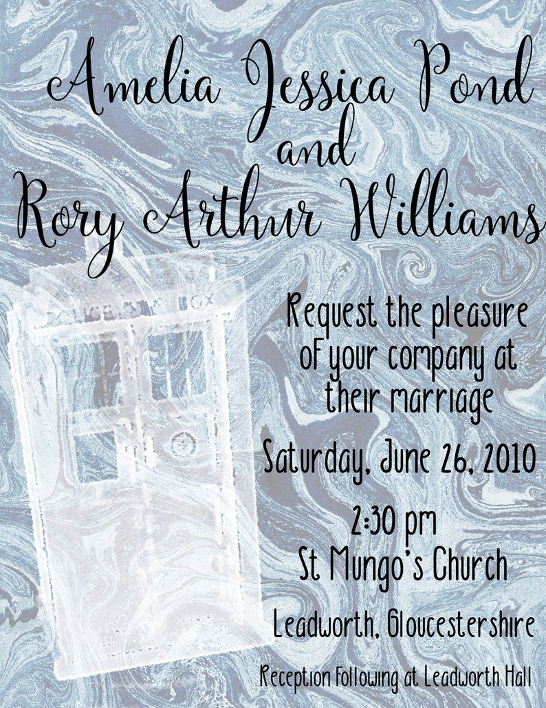 Doctor Who wedding invitation suite includes Save the Date /& RSVP