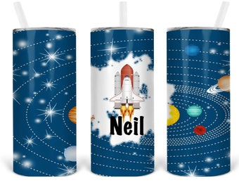 SPACESHIP, OUTERSPACE TUMBLER, Kids Space Tumbler, Outer space, planets, rocket ship tumbler for kids