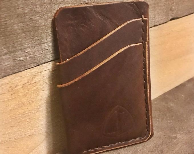 Dark Brown Handcrafted Leather Card Sleeve Wallet