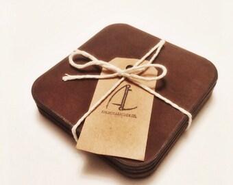 Handmade Leather Coaster Set