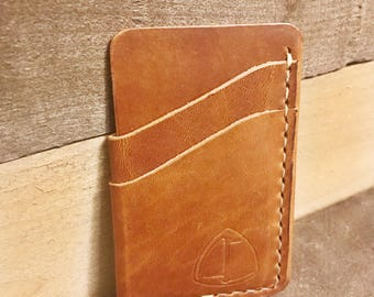 Tan Handcrafted Leather Card Sleeve Wallet