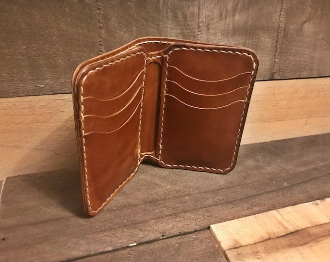 Leather Tan Vertical Bifold Wallet