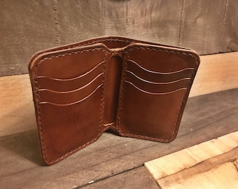 Leather Dark Brown Vertical Bifold Wallet