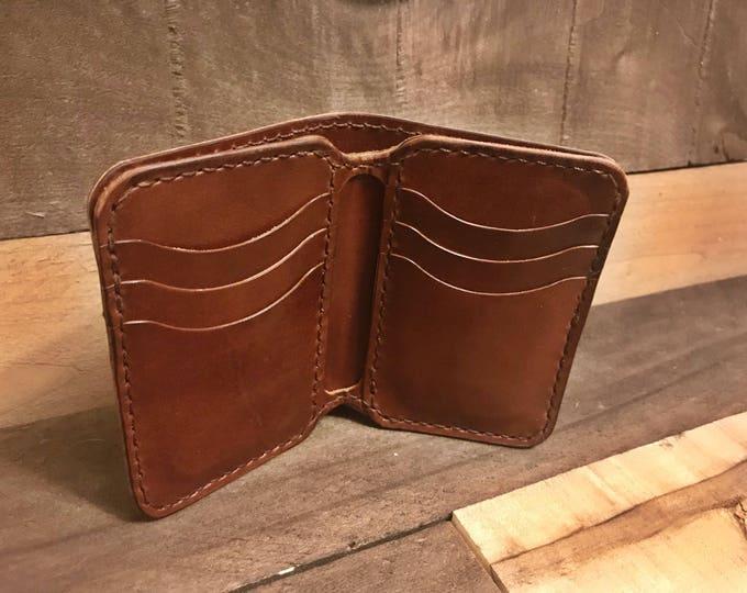 Leather Dark Brown Vertical Bifold Wallet