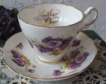 Vintage Teacup English Bone China Mother Gift Purple  Pansy Mid Century TeaTime Victoria Downton Abbey Cottage Shabby Chic WhenRosesBloom