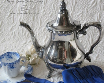Vintage Silver Tea Pot Wallace  Silver Tea Time   Downton Abbey    Classic Tea Cottage Shabby Chic Decorative WhenRosesBloom