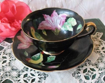 Vintage Tea Cup Occupied Japan Black Pink Floral Bird Mid Century TeaTime Victoria Downton Abbey tea  Cottage Shabby Chic WhenRosesBloom