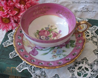 Vintage  Teacup & Saucer Japan Footed  Floral  Mid Century TeaTime Pink Gold Victoria Downton Abbey Tea Cottage Shabby Chic WhenRosesBloom