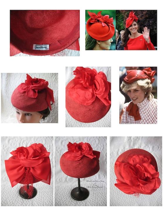 Vintage Red Hat Fascinator Princess Diana Kate Mi… - image 5