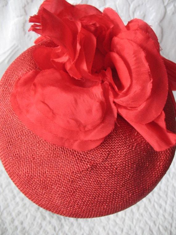 Vintage Red Hat Fascinator Princess Diana Kate Mi… - image 3