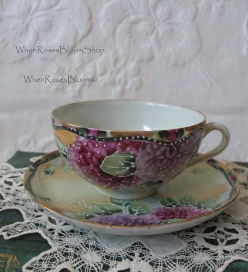 e5521b4991d Vintage Tea Cup Purple Floral Hydrangea Japan Moriage TeaTime