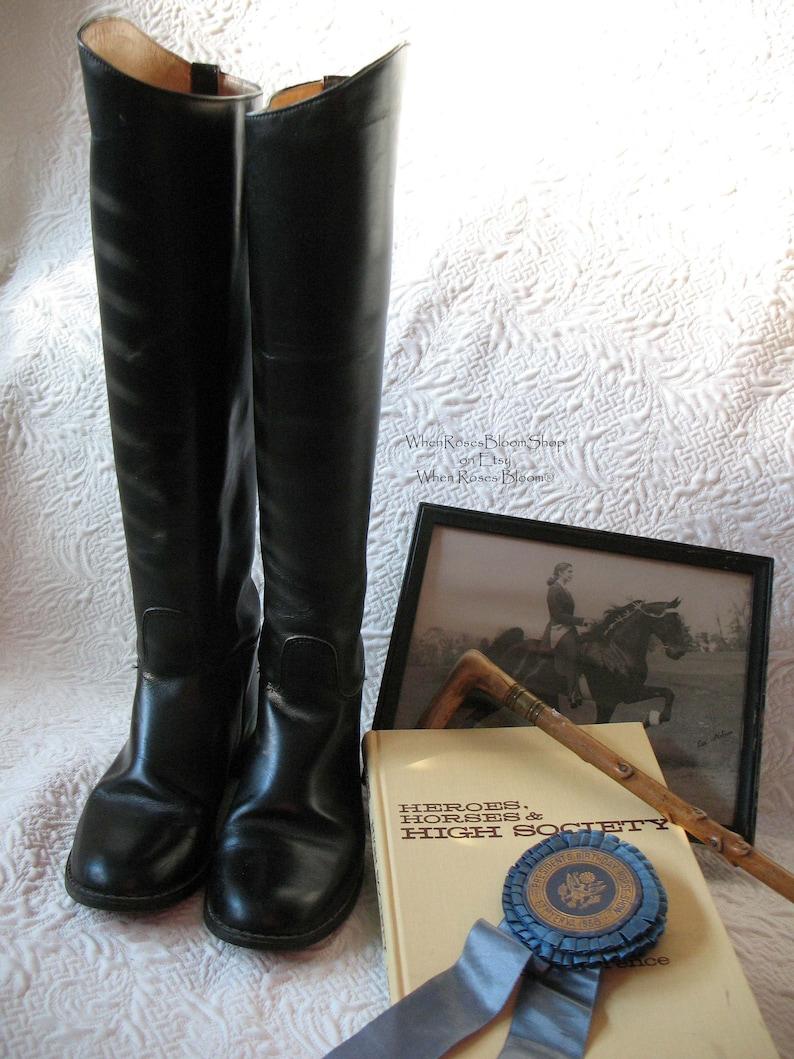 39d3ad2538ee8 Vintage Riding Boots Tall Black English Hunt Decor Photo Prop | Etsy