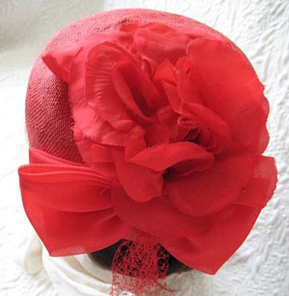 Vintage Red Hat Fascinator Princess Diana Kate Mi… - image 2