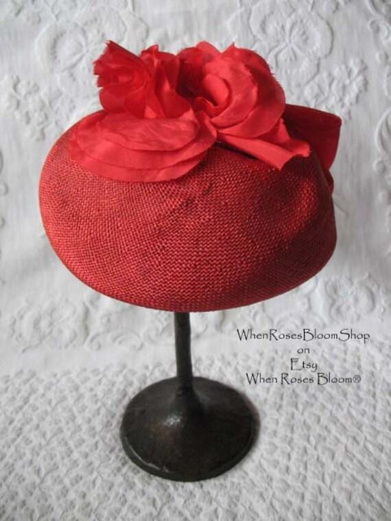 Vintage Red Hat Fascinator Princess Diana Kate Mi… - image 7